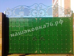 Распашные кованые ворота. фото №18