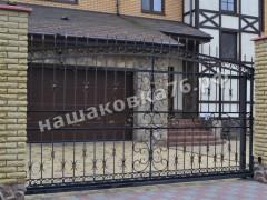 Откатные кованые ворота. фото №19