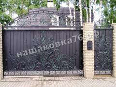 Откатные кованые ворота. фото №21