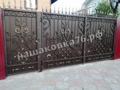 Распашные кованые ворота. фото №1