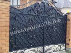 Распашные кованые ворота. фото №24